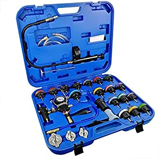 GOGOLO 28pcs Car Radiator Pressure Tester Vacuum-Type Cooling System Water Tank Detector Checker Refill Kit with Toolbox Storage