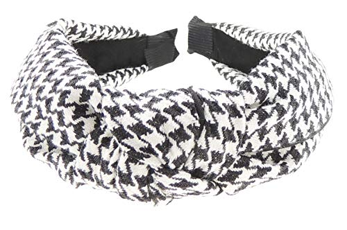Glamour Girlz - Cerchietto da donna con nodo a forma di pied de poule, con stampa a quadretti, colore: nero e bianco