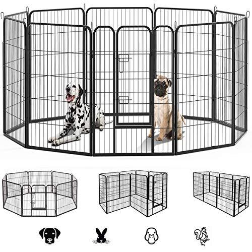 ドア付ペットフェンス ペットサークル 10枚 中大型犬用 ペットフェンス折り畳み式 組立簡単 ペットフェンス 全成長期使用 室内外兼用 カタチ可変更 (60*80cm-10枚)