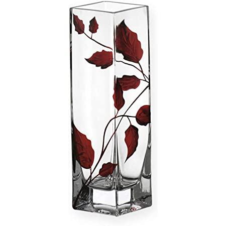 Ideal Ruby Anniversary 40th Wedding Gift 22.5cm Quality Contemporary Ruby Leaf Tendril Square Column Flare Flower Vase Mouth Blown Hand Decorated Glass