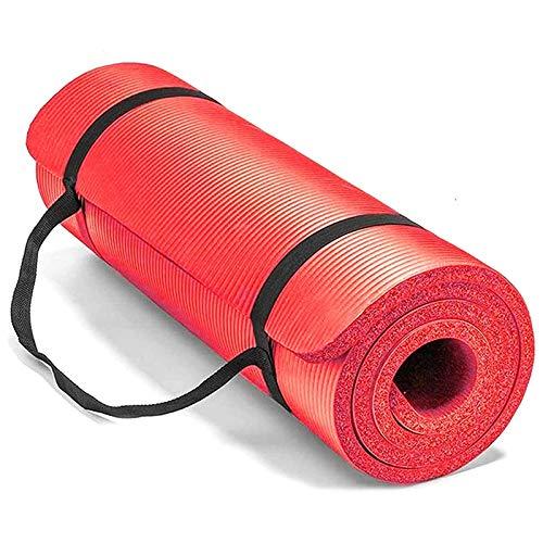 JISKGH Tappetino da Yoga per Donne e Uomini Tappetino Antiscivolo per Esercizi Domestici Attrezzatura da Palestra per Fitness, Ginnastica e Pilates (10 Mm) Rosso