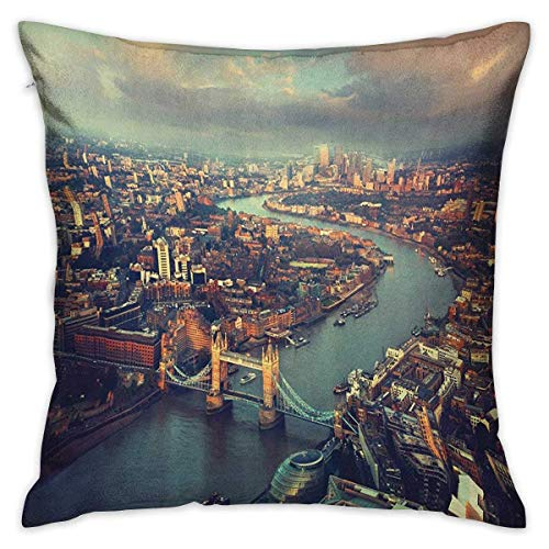 N\A London Square Body Pillowcase Panoramic Picture of Thames River and Tower Bridge Famous Cityscape Orange Beige Almond Green Cushion Cases Pillowcases for Sofa Bedroom Car