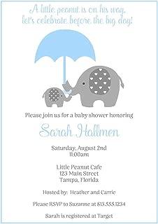 Elephant Baby Shower Invitations Baby Boy It's a Boy Baby Shower Invites Baby Elephant Blue Mommy and Me Polka Dots Umbrella Little Peanut Custom Printed Invites (10 Count)