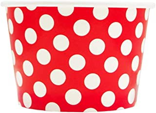 Red Paper Ice Cream Cups - 8 oz Polka Dotty Dessert Containers Perfect For Yummy Treats - Many Sizes to Make Your Party Amazing! Frozen Dessert Supplies - 50 Count