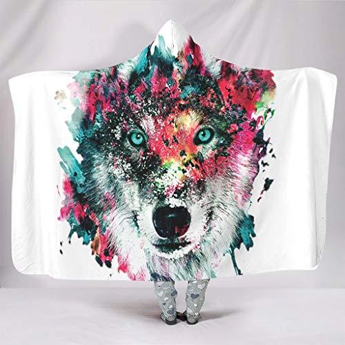 Fineiwillgo Sudadera con capucha de Inkwolf, manta supersuave de microfibra, sudadera con capucha, para adolescentes, manta de felpa, para sofá o silla, color blanco, 150 x 200 cm