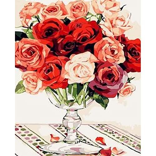 ZXDA Pintura de Flores por número Pinturas pintadas a Mano de Flores Dibujo sobre Lienzo Imágenes de Regalo artísticas por Kits de números Inicio A1 50x65cm
