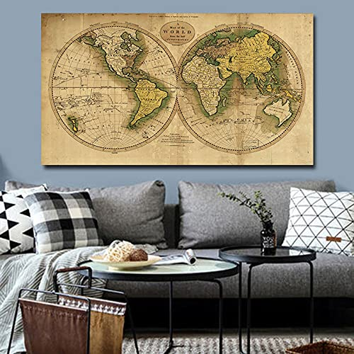 Carteles e impresiones de mapas antiguos del mundo Retro clásico, pintura en lienzo, arte de pared para sala de estar, decoración del hogar, Cuadros 50x90 CM (sin marco)