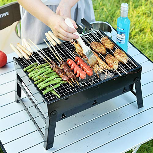 "Portable Barbecue Charcoal Grill Stainless Foldable BBQ Grills for Outdoor/Garden Cooking Camping Hiking Picnic Easy to Carry 16.92"" x 11.41"" x 2.75"""