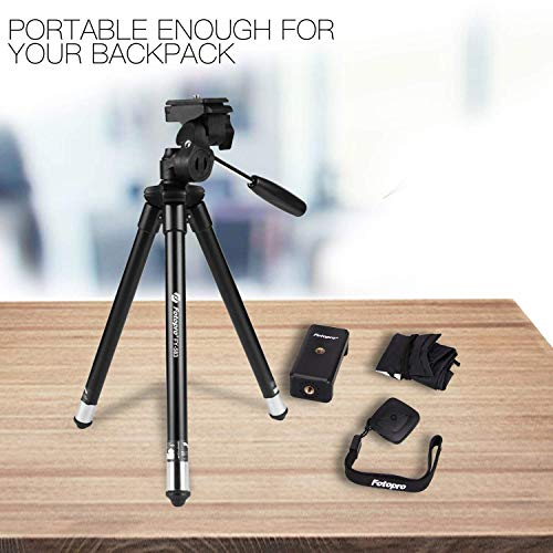 Fotopro Phone Tripod, 39.5 Inch Tripod for iPhone, Travel Tripod with Bluetooth Remote/Smartphone Mount, Lightweight Tripod for Samsung, Huawei
