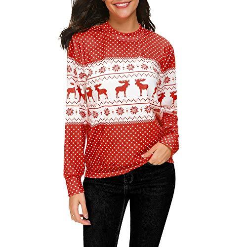 iHENGH Damen Herbst Winter Bequem Mantel Lässig Mode Jacke Frauen Weihnachtsdruck Rundhals Langarm T Shirt Bluse Tops Sweatshirt(Rot, XL)