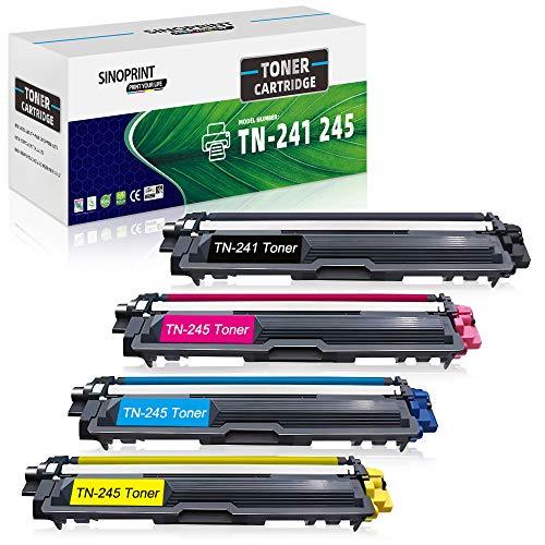 SINOPRINT Kompatible Tonerkartusche Ersatz für Brother TN241 TN245 TN242 TN246 für Brother HL-3140CW HL-3142CW HL-3150CDW HL-3152CDW HL-3170CDW HL-3172CDW DCP-9015CDW DCP-9020CDW (4er Pack, BCMY)