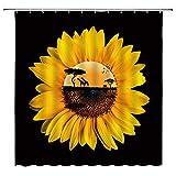Sonnenblumen-Duschvorhang, anstrakte Sonnenblume, afrikanische Wildtiere, Giraffe, Elefant, Silhouette, kreativ, rustikaler Stoff, Badezimmer-Dekor-Set mit 12 Haken, 180 x 180 cm, Gelb / Schwarz