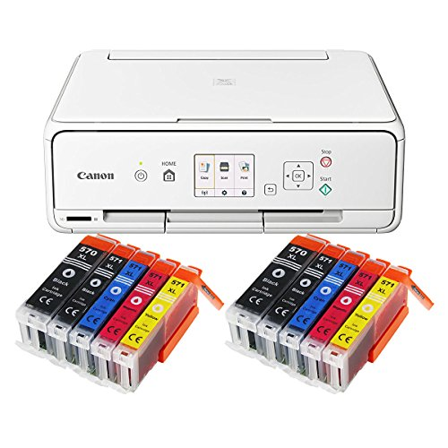Canon Pixma TS5051 TS-5051 Farbtintenstrahl-Multifunktionsgerät (Drucker, Scanner, Kopierer, USB, WLAN, Apple AirPrint, SD-Kartenleser) weiß + 10er Set IC-Office XL Tintenpatronen 570XL 571XL