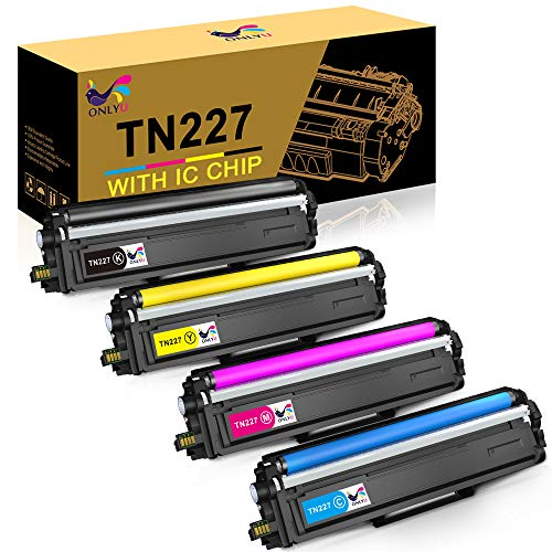 ONLYU Compatible Toner Cartridge Replacement for Brother TN227 TN-227 TN227BK TN223 TN 227 for HL-L3210CW HL-L3230CDW HL-L3270CDW HL-L3290CDW MFC-L3710CW MFC-L3750CDW MFC-L3770CDW (4 Pack)