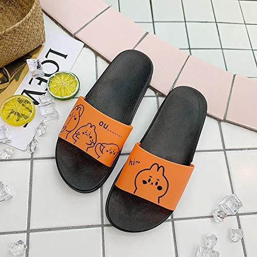 Flip Flops Sandal,Las Mujeres Usan Sandalias domésticas Lindas, baño en casa-Naranja_36/37,Sandalias de Tiras