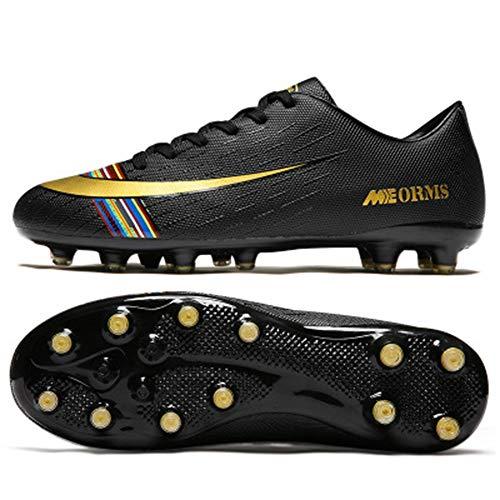 Zapatos de fútbol Hombres y Mujeres Niños AG Nail Antideslizante Campus Zapatos de Entrenamiento de fútbol Negro 38 5