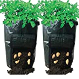 """Huouo 2 Pcs 10 Gallon Potato Planter Growing Tub Vegetables Raised Bed Garden Grow Bags with Access Flap for Harvesting 14"""" x 20"""""""