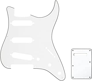 Musiclily SSS Set de Pickguard Golpeador y Placa Trasera Strat para Fender American/México Standard Stratocaster Estilo Moderno, 3 capas Blanco