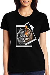 Big Funny Tiger Animal Face Casual Comfortable T-Shirts Women's Print Tee Shirts with Short Sleeve