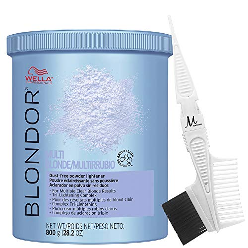 Wella Blondor Lightening Powder Multi Blonde 800 grams and M Hair Designs Tint Brush/Comb (Bundle - 2 items)