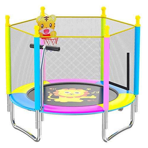QXTT Trampolines For Kids 4ft Trampoline With Safety Net Enclosure Foldable Trampolines With Handrails And Baskets For Children Jumping Training Indoor Outdoor Activities,Lion