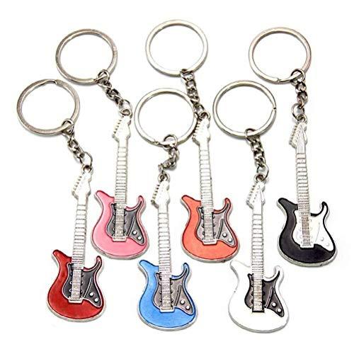 Schlüsselbund Emoji 6pcs Gitarre Key Ring Auto-Schlüsselring-Geldbeutel-Beutel-hängende Dekoration, die Key Ring Zusatz-kreatives Geschenk hängt (Schwarzes, weißes, blaues, rosafarbenes, orange, rotes