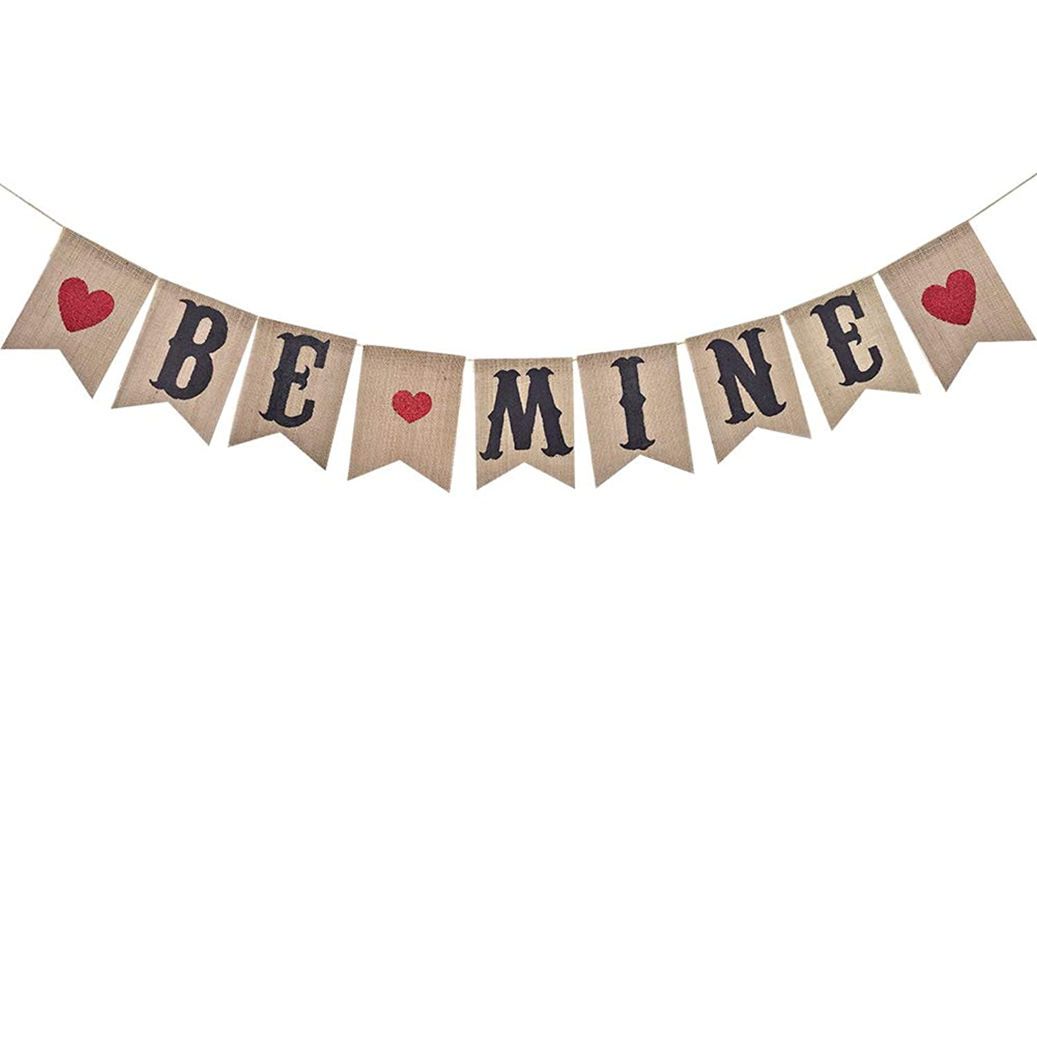 Be Mine Banner With Red Glitter Heart Valentines Day Banner For Valentine Wedding Engagement Anniversary Party Decoration Supplies