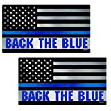 Thin Blue Line Back The Blue Flag Stickers 2 Pack