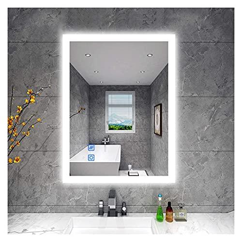 WERTYG Espejos de baño montados en la Pared, 800 x 600 mm LED Espejo de baño con luz Regulable Anti-Niebla Mirmón de Maquillaje Montado en la Pared Horizontal/Vertical (32 x 24 Pulgadas)