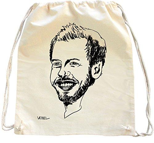 Mister Merchandise Turnbeutel Natur Rucksack Sebastian SEB Vettel, Farbe: Natur
