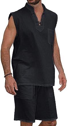 c7d2660f9b3f7 Dreamyth-sets 2Pcs Men s T-Shirt Tee Hippie Shirts Short Sleeve Beach Shirt  Shorts