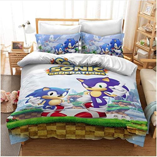 Nat999Lily Anime 3D Impreso Digital Sonic Funda De Edredón Juego De Fundas De Almohada Twin Full Queen King Size Juego De Cama Ropa De Cama De Lujo Textiles para El Hogar 173X218Cm
