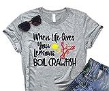 Anbech Womens Crawfish Shirt Novelty Graphic Tees Summer Short Sleeve Blouse Top Size XL (Gray)