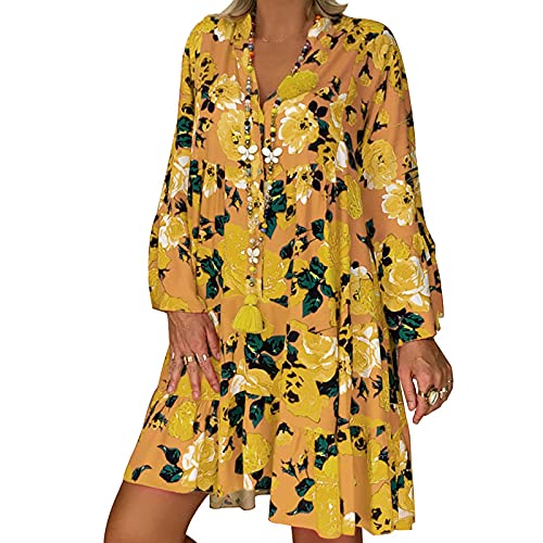 QAZW Vestido de fiesta de playa con estampado floral bohemio y cuello en V, manga larga, color amarillo y grande