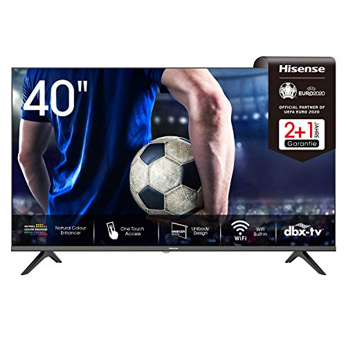 Hisense 40AE5500F 100cm (40 Zoll) Fernseher (Full HD, Triple Tuner DVB-C/S/S2/T/T2, Smart-TV, Frameless, Prime Video, Netflix, YouTube, DAZN, 3 Jahre Garantie)