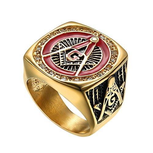 Fengteng Rot Gold Farbe Quadrat-Form Freimaurer Templer Ring, Freemason Siegelring, A G Symbol Herren Hübscher Fingerring, Schmuck und Geschenk (59 (18.8))