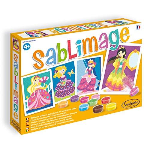 Sentosphere 00898 - Sandbilder: Prinzessinnen, Set mit 4 Bildern, 16 Dosen und Farbsand, 25 x 18 cm