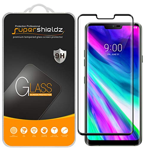 (2 Pack) Supershieldz for LG G8 ThinQ Tempered Glass Screen Protector, (Full Cover) (3D Curved Glass) Anti Scratch, Bubble Free (Black)