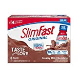 SlimFast Original Creamy Milk Chocolate Shake – Ready to Drink Weight Loss Meal Replacement – 10g Protein – 11 Fl. Oz. Bottle – 8 Count - Pantry Friendly