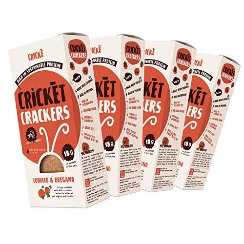 Crické, Eiwitrijke Snack - Tomaat en Oregano 85g (4 Pakketten)- Gezonde Cracker met Krekel Insecten Poeder (Krekelmeel) - Alle Natuurlijke Eetbare Insecten - Hoog aan Eiwitten en Vitamine b12 Superfood