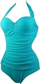 YONKINI Bañadores Una Pieza con Relleno Mujer Retro Vientre Plano Bikini Monokinis Adelgazante Elegante Traje de Baño Pin Up Halter Cintura Alta Ropa de Baño Tankini para Playa