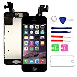 Nroech for iPhone 5C Screen Replacement with Home Button and Camera Full Assembly - 5C LCD Display Touch Digitizer + Free Repair Tools Kit and Tempered Glass Screen Protector [Black]