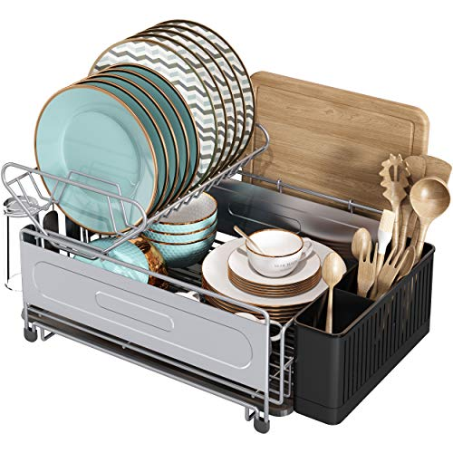 Dish Drying Rack 2 Tier Compact Dish Drainboard Set Stainless Steel Dish Rack for Kitchen Countertop Dish Drainer with CupUtensilCutting Board Holder Space Saving Dish Dryer RackSilver