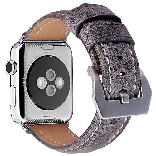 Preisvergleich Produktbild Apple Watch Armband 42mm, MisVoice Uhrenarmband Business Stil Hauptschicht Leder Ersatz Band / Armband mit Edelstahl Verschluss für iWatch Serie 0 1 2 3 Sport und Edition Versionen Grau