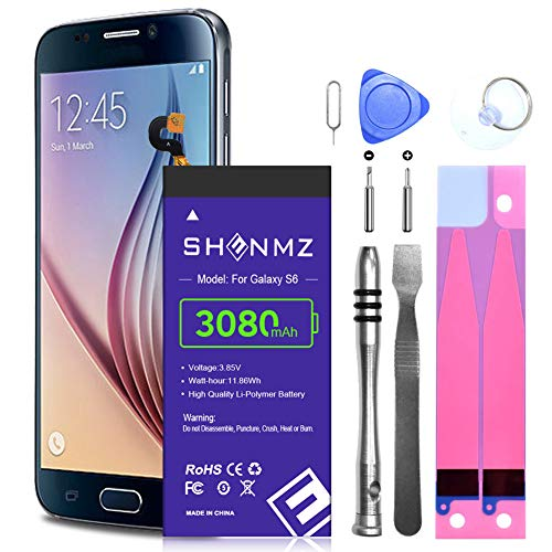 Galaxy S6 Battery,SHENMZ Upgrade 3080mAh Replacement Li-Polymer Battery EB-BG920ABE for Samsung Galaxy S6 EB-BG920ABE G920P G920A G920V G920T with Repair Tool Kit/S6 Spare Battery (24 Month Warranty)