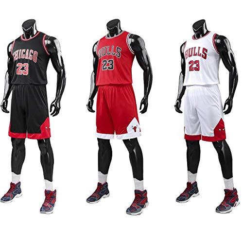 Chico Hombre NBA Michael Jordan # 23 Chicago Bulls Retro Pantalones Cortos de Baloncesto Camisetas de Verano Uniformes y Tops de Baloncesto Uniformes (Rojo, 4XL)