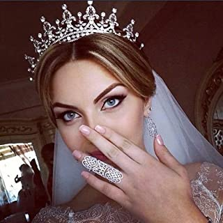 SNOWH Crystal Wedding Crown for Bride, Royal Bridal Crowns and Tiaras CZ Headpiece Rhinestone Princess Tiara for Women Pageant Birthday Headbands Hair Jewelry (Silver+Clear)