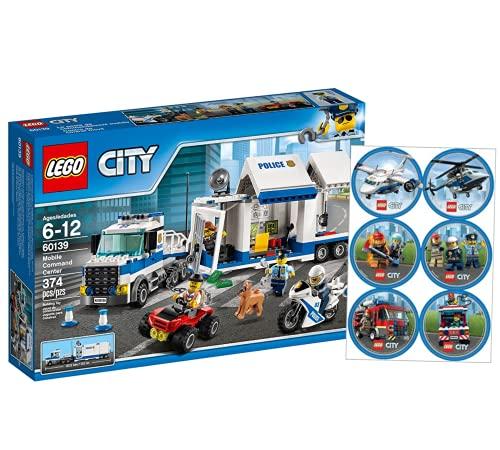 Collectix Lego 60139 - Juego de mesa de policía móvil y arco de pegatinas de Lego City (bomberos, policía)