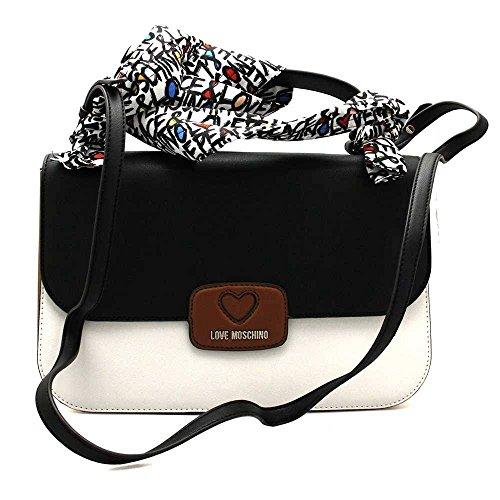 Love Moschino Mallette femme cuir blanc tricolore et cuir noir. Deux sacs à bandoulière. Les mesures de ce modèle sont: hauteur 21cm, largeur 32cm, épaisseur 9cm.