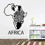 Mapa de África, calcomanía de pared, fauna africana, cebra, diseño de interiores para el hogar, arte, oficina, decoración del hogar, adhesivo de vinilo para pared